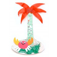 Use different papers to create a crab on an island, and put some sparkle duct and sequin for decoration